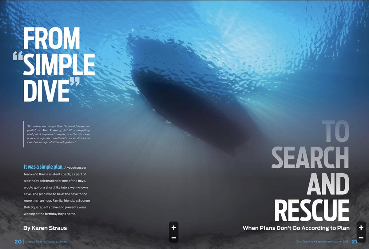 "Dive Training magazine article ""From Simple Dive to Search and Rescue"""